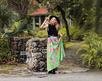60s Hippie Dress Vintage Maxi Green Print Spring Dress