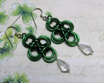 Chain Maille Clover Earrings, St. Patrick's Day Earrings, Clover Earrings, Holiday Earrings, Dangle Earrings, St. Patrick's Day Jewelry