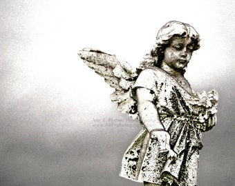 Angel Statue Photo, Angel Wings Photo, Angel Art, Minimalist Photography, Black and White, Fine Art Metallic Print