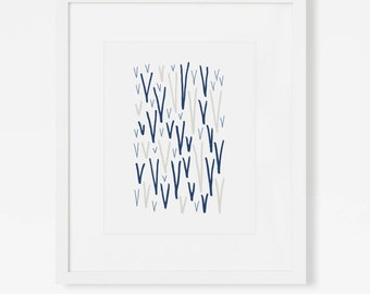 "Abstract Geometric Art Print - Taupe and Blue Icicles Illustration - 5x7"", 8x10"", 11x14"" Vertical Wall Art for Living Room, Nursery, Office"