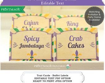 Mardi Gras Food Label  - Mardi Gras Buffet Table Tent Cards - Editable Text - Instant Download - Mardi Gras Party - Fleur de Lis