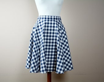 Blue gingham skirt, midi skirt, Half circle skirt, blue cotton skirt, 50s skirt, maxi skirt, full skirt, Tea length skirt, red skirt