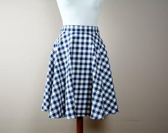Blue gingham skirt, midi skirt, Half circle skirt, blue cotton skirt, 50s skirt, maxi skirt, full skirt, Tea length skirt, red skirt
