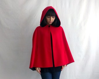 Little red riding hood, red cape, wool cape, fall fashion, fairy tale cape coat, hooded cape,hooded cloak, adult cape little red riding hood