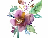 Mauve Floral , botanical print, watercolor botanical, watercolor flowers, cottage chic, floral watercolor