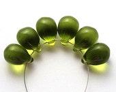 Dark Olive green drops, Dark Olivine Teardrop czech glass, green large Briolettes - 10x14mm - 6Pc - 1064