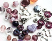 Purple Bead soup, Eiffel Tower charm, beads mix, czech glass, spacers, different shapes - BB10