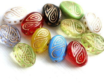 Beads mix, Golden inlays, Green, large fantasy oval czech glass beads, Ornament, wavy beads - 17x13mm - 10Pc - 2675
