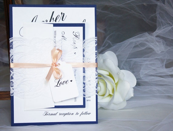 Navy And Peach Wedding Invitations: Navy And Peach Lace Wedding Invitations Blue And Peach Lace