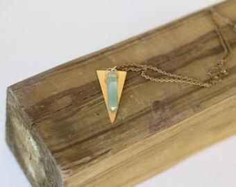Aventurine Stone Triangle Necklace