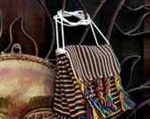 Vintage Ethnic Bag, Rainbow Woven Bag, Unisex Rainbow Bag, Bohemian, Hippie, Ethnic, Tribal