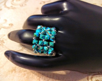 The Peggy- Turquoise AB2X Swarovski Crystal and Lacey Silver Foil Seed Bead Stretchy Fashion Right Angle Weave Ring