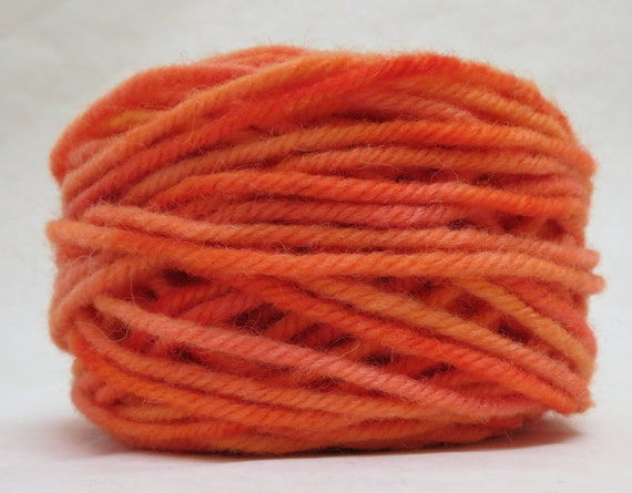 CARROT, 100% Wool, 2 Ozs. 43 yards, 4-Ply, Bulky or 3-ply Worsted weight yarn, already wound into cakes, ready to use, made to order.