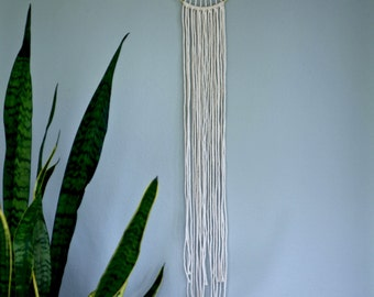 "Macrame Wall Hanging - 35"" Natural White Cotton Rope w/ 6"" Brass Ring - Sunburst - Boho Home, Nursery, Wedding Decor"