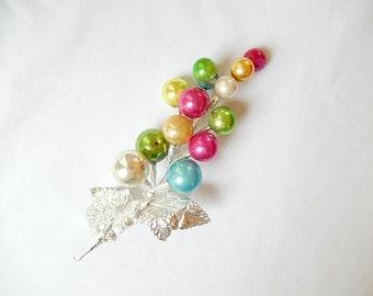 vintage Christmas glass ball pick, spray of 13 glass balls, Christmas decor, craft supplies, Holiday decor