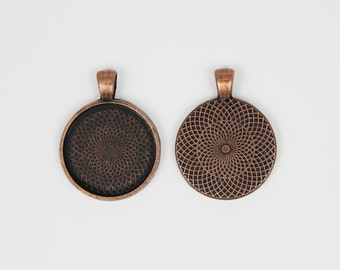SOJ-052: Set of 20 - 1 inch / 25mm Round Antique Copper Pendant Trays - DIY, pendant kit, 25 mm, necklace supplies, 1 inch, bezel, finding