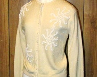 On Sale-Gorgeous CREAM Colored BEADED 1950's Sweater