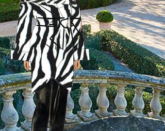 Zebra Animal Print shirred Velvet Big Collar Wrap Coat