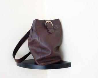 Vintage Coach Legacy West Distressed Slouchy  Dark Brown Leather Bucket Crossbody Bag Backpack