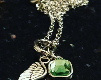 August Birthstone Guardian Angel Necklace - Style 2 - For a loved one, a friend, yourself, a gift - Keepsake