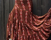 10% OFF Size M Brown and Salmon Tribal Striped Madalene 2.0 OOAK Bellydance Twisted Ruffle Maxi Skirt
