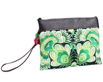 Zippered Wristlet Clutch With Removable Leather Strap Thailand (BG282AW-21C11)