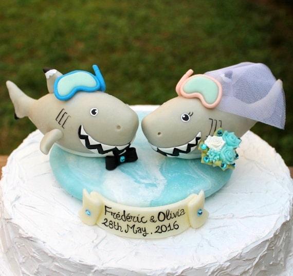 Shark wedding cake topper customizable, beach summer wedding, tropical wedding, destination wedding, with sea base and banner