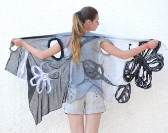 SALE 20%!!!! Nuno Felt art vest, butterfly shawl, black white felt scarf, Felted Art Vest, gift for a woman, felt scarf wrap, women fashion,