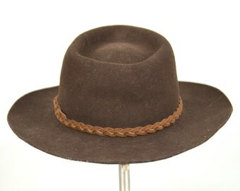 Vintage Stetson Brown Wool Wide Brim Wool Felt Western Hat with Braided Leather Band size 7