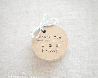 Thank You Rustic Wedding Favor Tags - Vintage Inspired Kraft Gift Tag - Bridal Shower - Bachelorette Party - Set of 30 (Item code: J454)