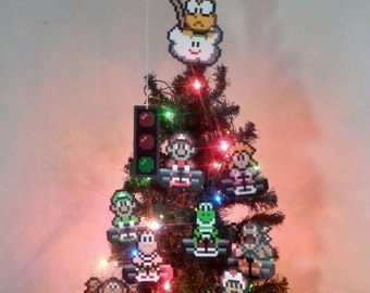 Super Mario Kart Perler Bead Christmas Ornaments - new years eve party - december gifts - trending