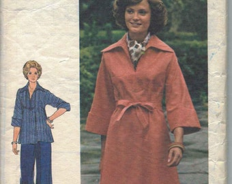 Misses Dress, Tunic, Pants, and Belt Pattern, 1970s A-Line Dress Pattern, Wide Leg Pants Pattern, Slimming Dress Pattern, Size 14, Bust 36