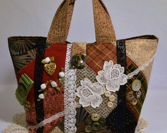 Fall Boho Crazy Quilt Small Fabric Handbag Purse