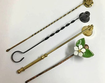 Candle Snuffer Lot ~ Assortment of 4 Vintage Candle Snuffers