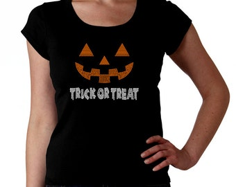 Halloween Trick or Treat Jack o Lantern Face RHINESTONE t-Shirt tank top sweatshirt S M L XL 2XL - Pumpkin