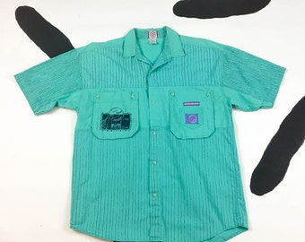 80s Gitano Turquoise Striped Button Down Shirt /  Beach / Surf / Skater / Pockets / Patches / Rising High / Size Small / Mens / Zack Morris