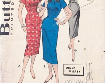 "Vintage 1950s Butterick Misses' Wiggle Dress Pattern 8464 Size 13 (33"" Bust)"
