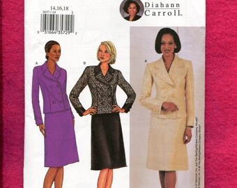 Butterick 3637 Classic Doubled Breasted Jacket & A-line Skirt Size 14  16 18 UNCUT