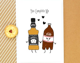 Whisky Card, Birthday Card, Funny Card, Whiskey, Anniversary Card, Boyfriend Card, Girlfriend Card, Valentines Day Card, Love, Illustration
