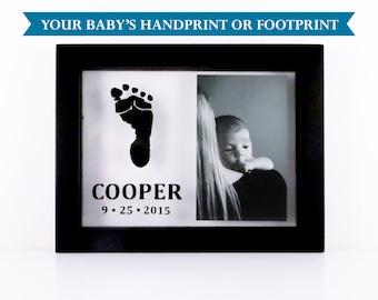 "Custom Baby Frame: Handprint or Footprint Frame (5""x7"") - MOTHER'S DAY GIFT"