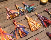 """Set of 10 Textile Tassel 3""""inch Up cycled Groovy Textile"""