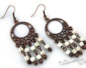 Ivory Chandelier Earrings boho jewelry hippie earrings birthstone jewelry gypsy earrings copper dangles white magnesite earring gift for her