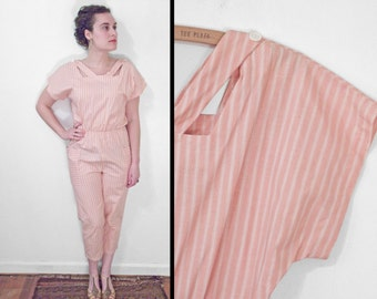 Peach Striped ROMPER 90s CACHE Cropped Cutout Collar S M