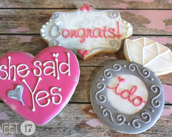 Custom Engagement Sugar Cookies (Set of Six)