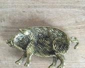 solid Brass Wild Boar Pig trinket Dish