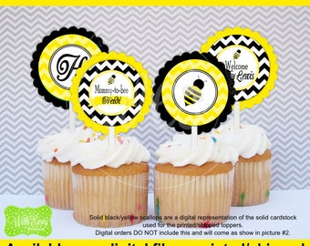 Latest Bumble Bee Party Circles Baby Shower Cupcake Toppers With Picks