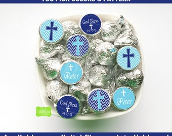 Christening Chocolate Kiss Stickers - Baptism Candy Kiss Stickers - Religious Candy Stickers - Custom Colors Pattern - Digital & Shipped
