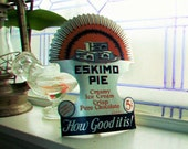 Vintage 1930s Eskimo Pie Cardboard Sign Stand Alone Easel Sign Ice Cream
