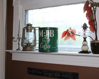 Large Vintage MJB Coffee Tin Can 15 Pound 11.75 Inches
