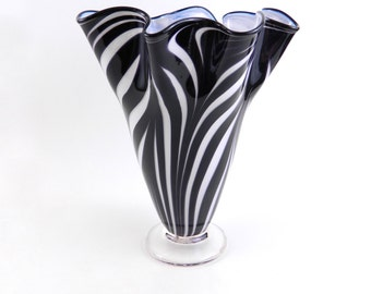 Black and White Blown Glass Vase